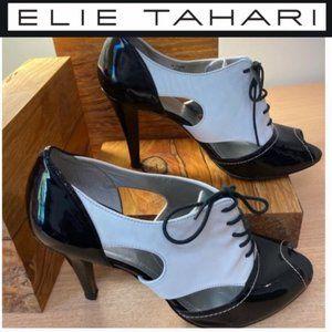 Elie Tahari Black & White Peep Toe heels
